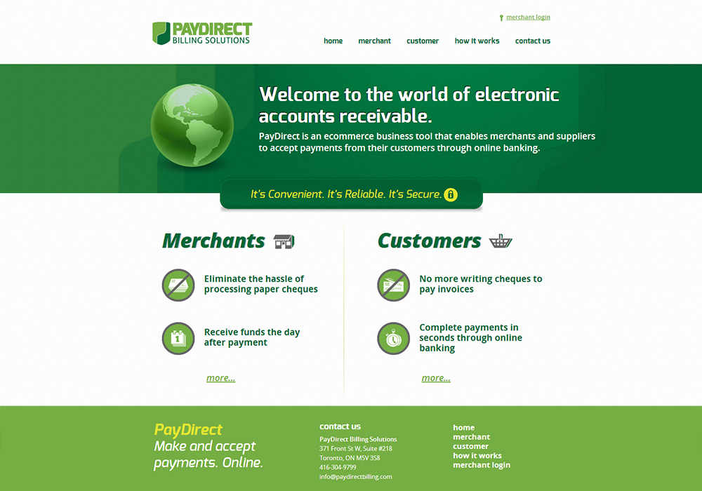 paydirect website design