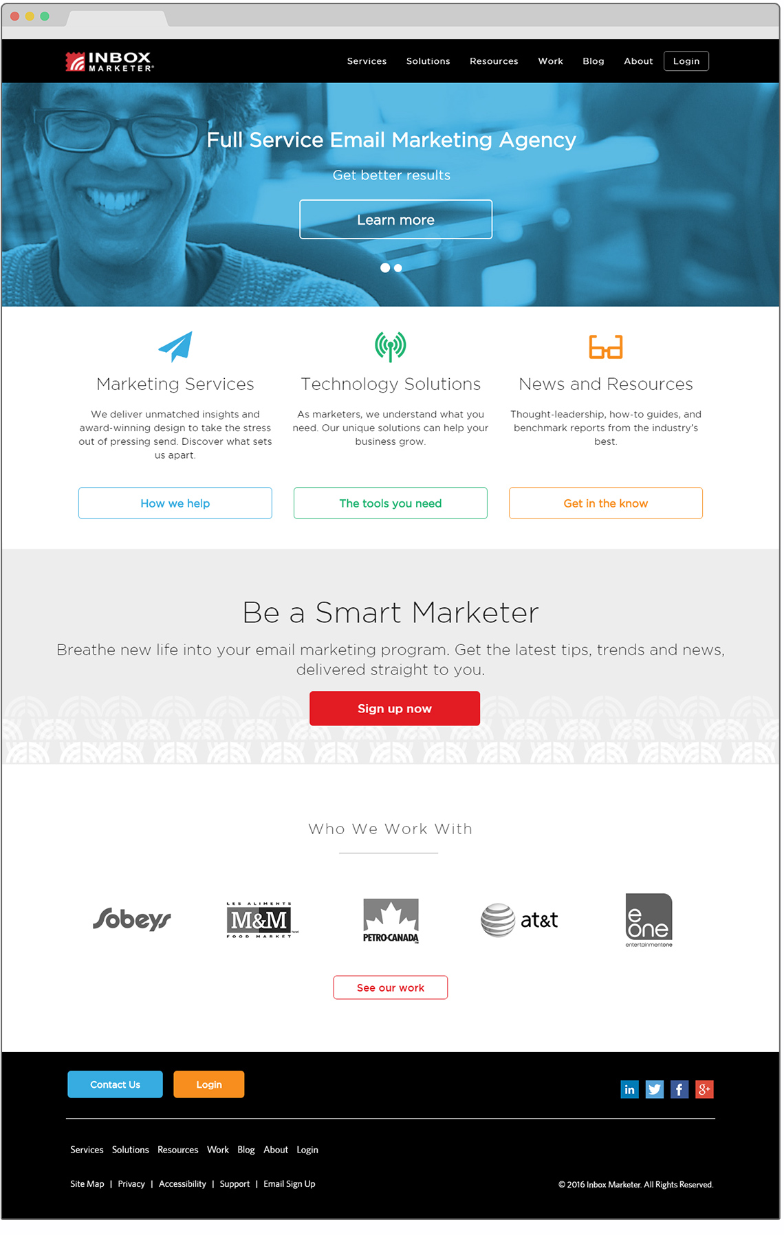 inbox marketer homepage design