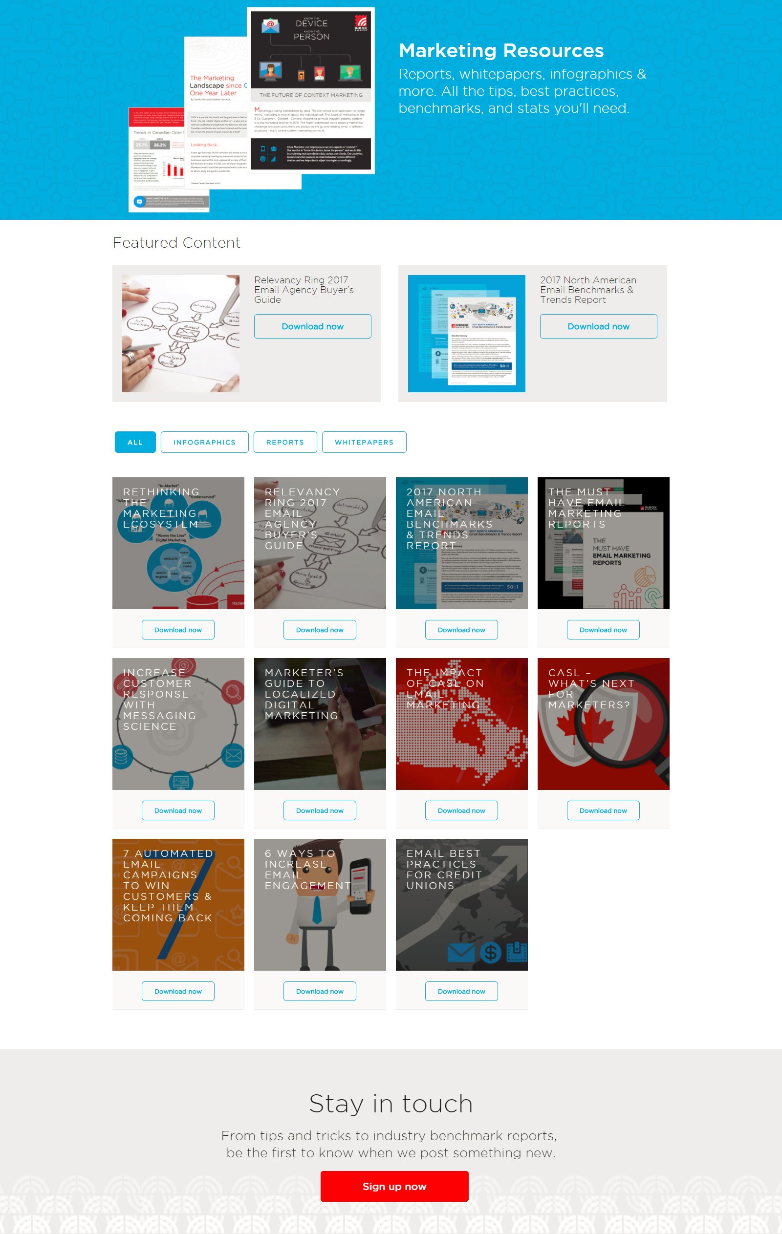 inbox marketer resources page design